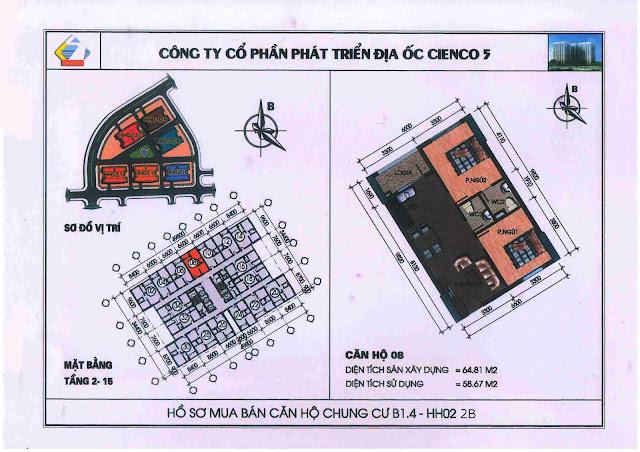Sơ đồ thiết kế căn hộ 06 B1.4 Thanh Hà Cienco 5 Hà Đông