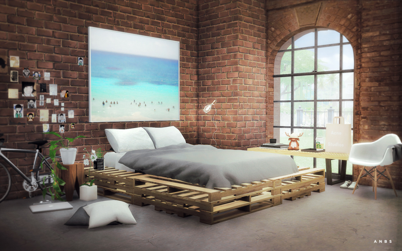 Brick Bed Frames My Sims 4 Blog Wooden Pallets Bed By Alachie And Brick Sims