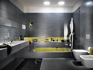 baño en gris y verde