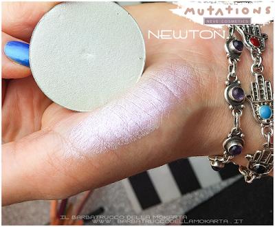 recensione swatches NEWTON illuminante ombretto - Collezione Mutations -Neve cosmetics