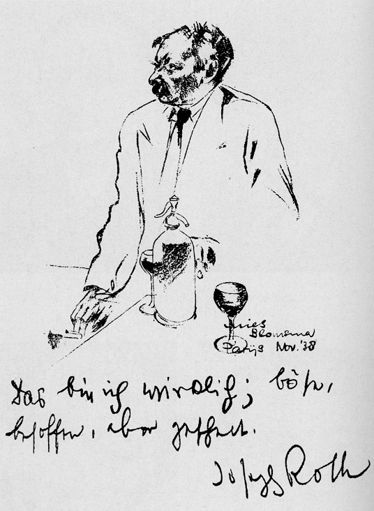 Joseph Roth; portrait by Mies Blomsma, November 1938.