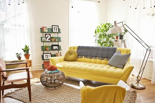 Thiết kế ghế sofa kết hợp đèn trang trí làm mới không gian sống