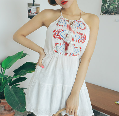 Tassel Accent Ethnic Embroidery Halter Top
