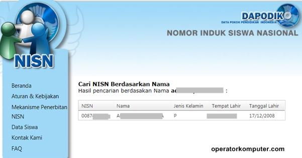 Contoh hasil pencarian NISN berdasarkan nama-tempat lahir-tanggal lahir siswa