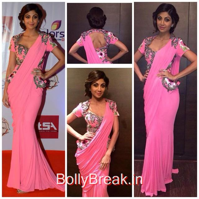 shilpa shetty looked lovely in a saree gown by @monishajaising styled with @anmoljewellers jewellery shilpa shetty , monisha jai sing , saree gown , hair and makeup , mu a , bollywood , bollywood actress , red carpet , indian wear , indian designer , fashion ista , fashion blogg ers , chic topia , indian fashion news ,, Hot Pics of Shilpa Shetty From Television Style Awards