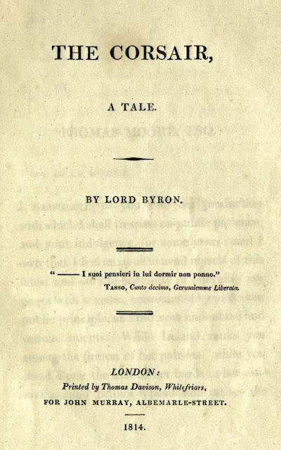 el corsario, el pirata, lord byron, the corsair first edition, the corsair cover book
