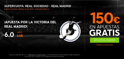 888sport bienvenida 150 euros + supercuota 6 Real Madrid gana Real Sociedad Liga 21 agosto