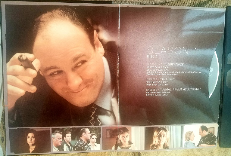This man in the photo was famous for his role in the Sopranos series on HBO and he passed away on June 19th 2013 his name is James Gandolfini this is on the series collection that I own