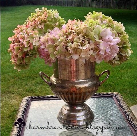 Vintage champagne buckets vintage trophy hydrangeas