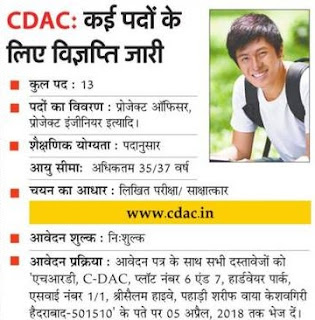 CDAC Recruitment 2018 Project Officer, Engineer Jobs in Advanced Computing
