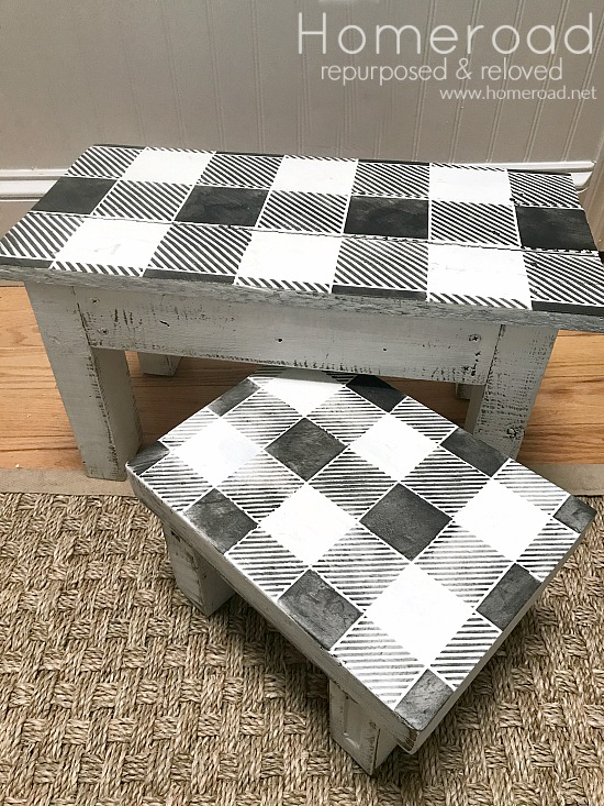 How to Make a Buffalo Check Step Stool Set . Homeroad.net