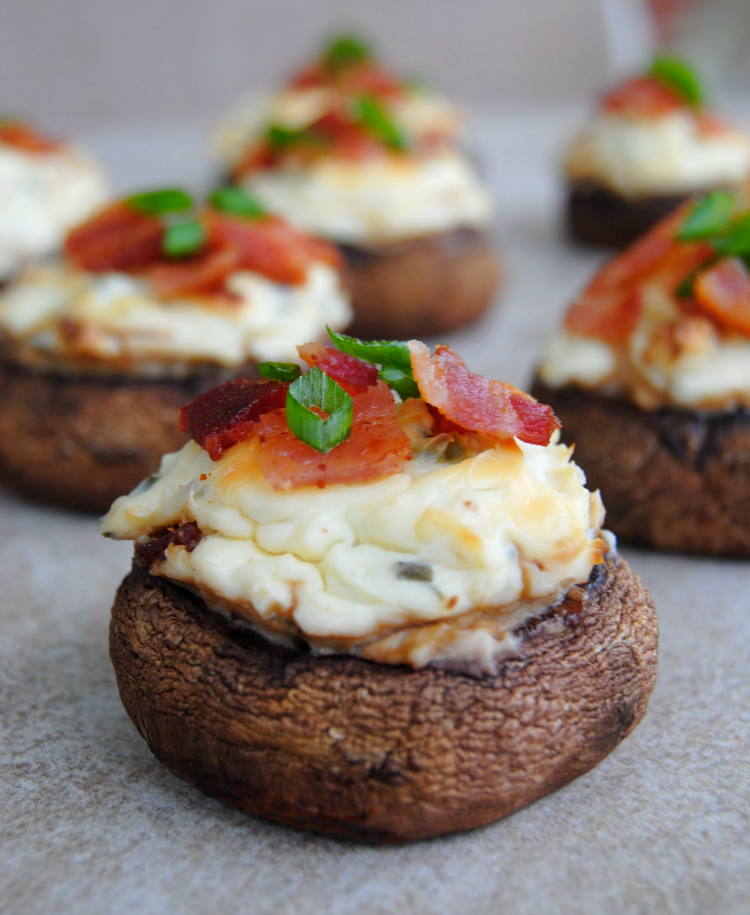 Bacon and Spicy Cream Cheese Stuffed Mushrooms