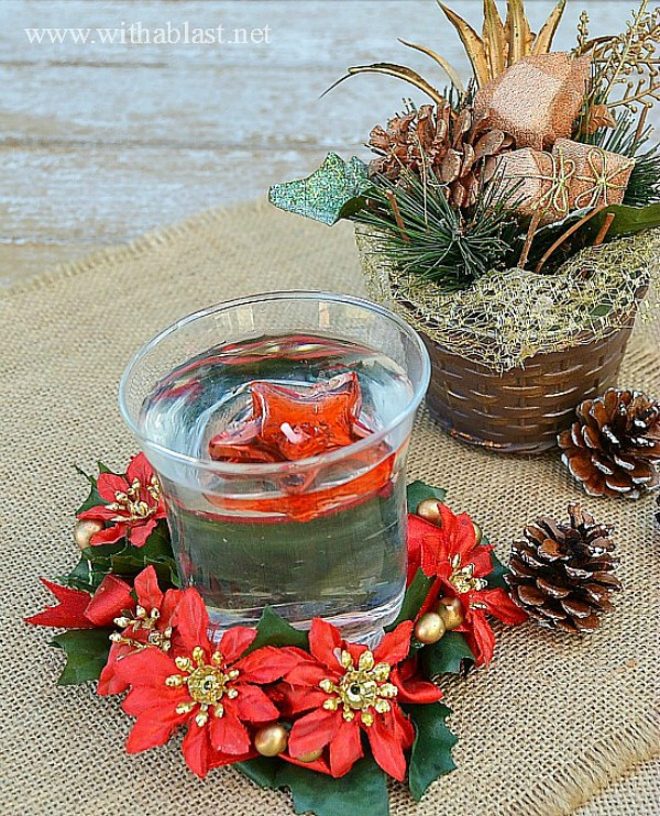 Floating candles Decor for Christmas ~ Small Red, Green and Gold centerpiece, which means you can have several on your dining table without them being in the way, yet creating a lovely atmosphere #ChristmasDecor #Centerpiece www.withablast.net