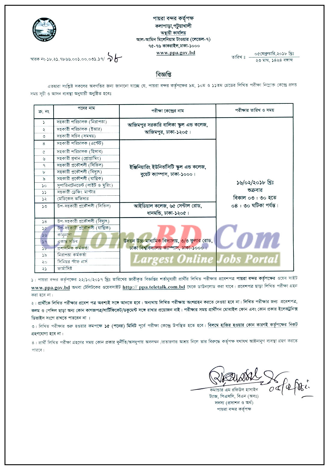 Payra Port Authority (PPA) Admit Card & Exam Schedule