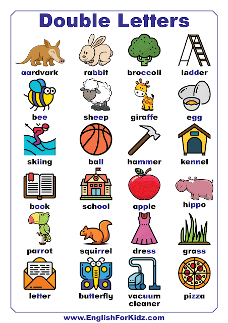 Double letters in English - illustrated chart