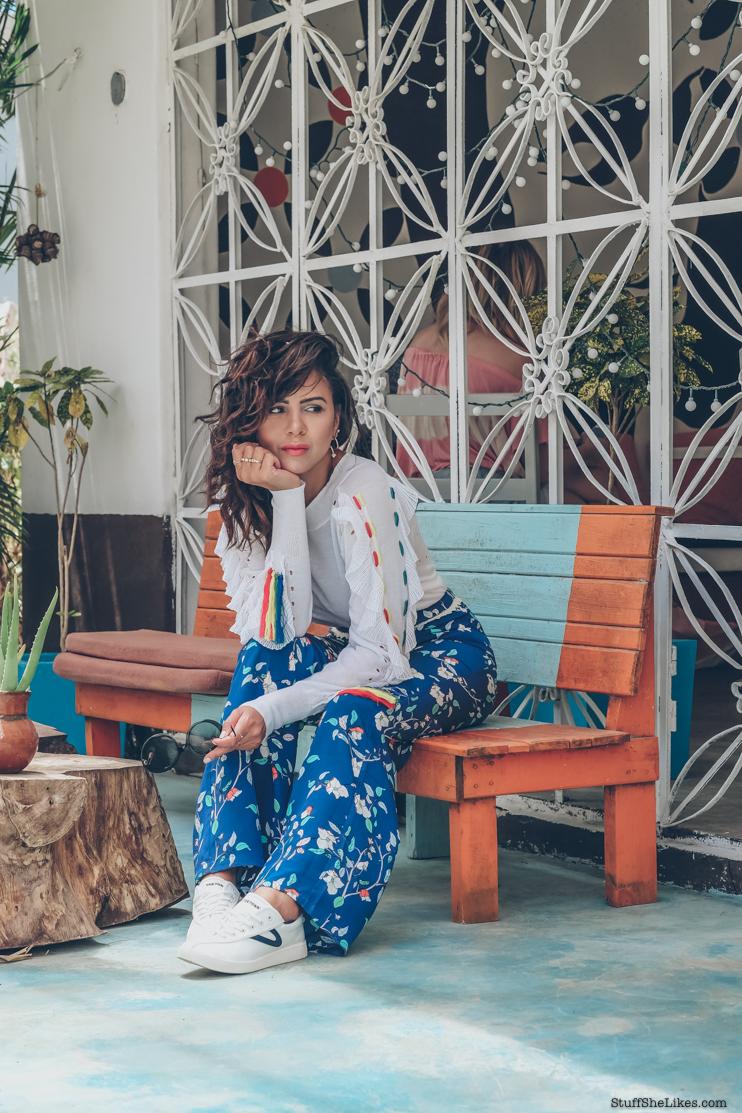 wildfox tops, fashion Blogger, Tulum, how to dress for Tulum, how to dress for a mexico vacation, top blogger, top fashion blogger, tretorn sneakers, curls, Taye Hansberry, Christian Roth sunglasses