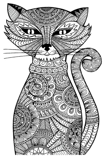 Free Coloring Page Coloringadultcat Cat With Zentangle Patterns