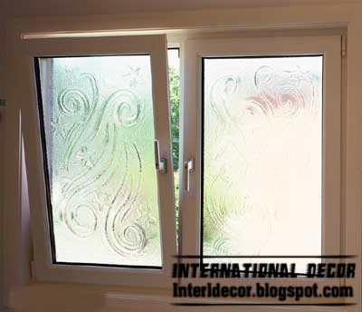 New Aluminum Window Frame With Embossed Glass Interior Design