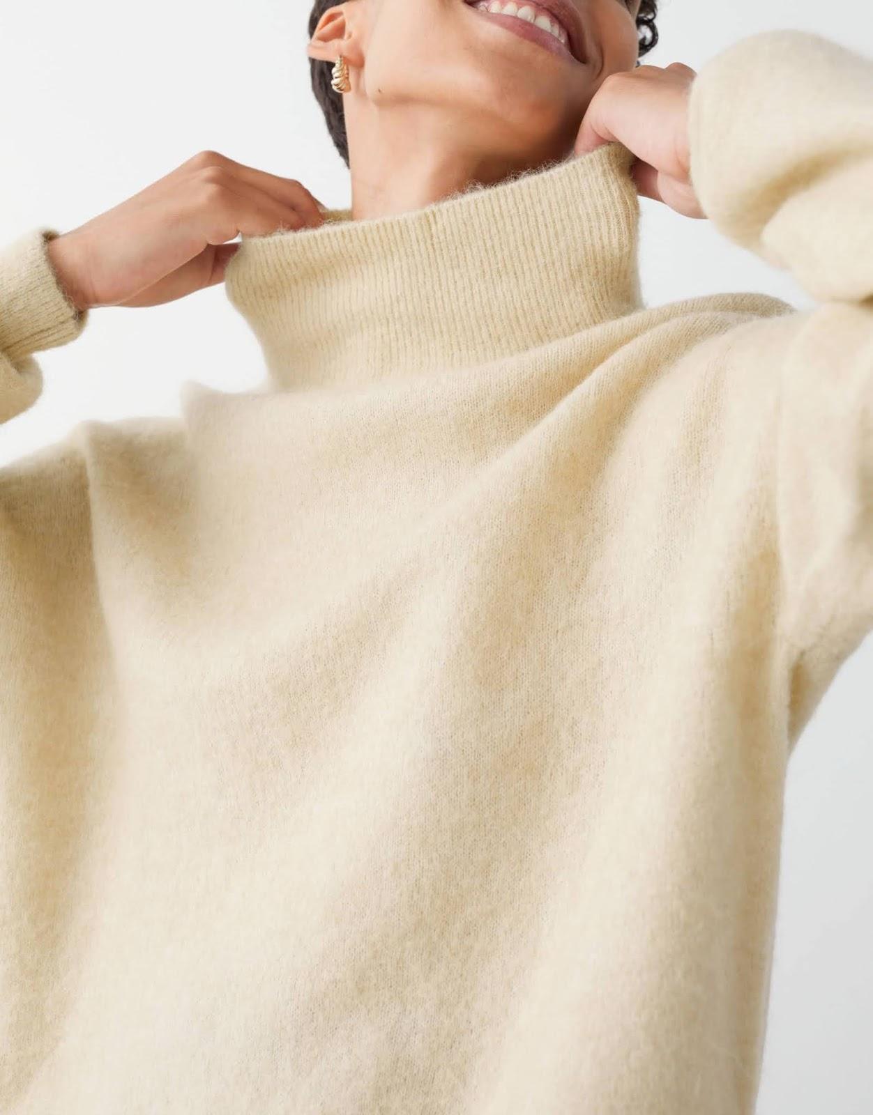 alpaca blend mock neck sweater