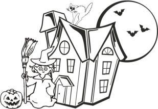 malvorlagen zum ausmalen: malvorlagen halloween: hexe vor spukschloss