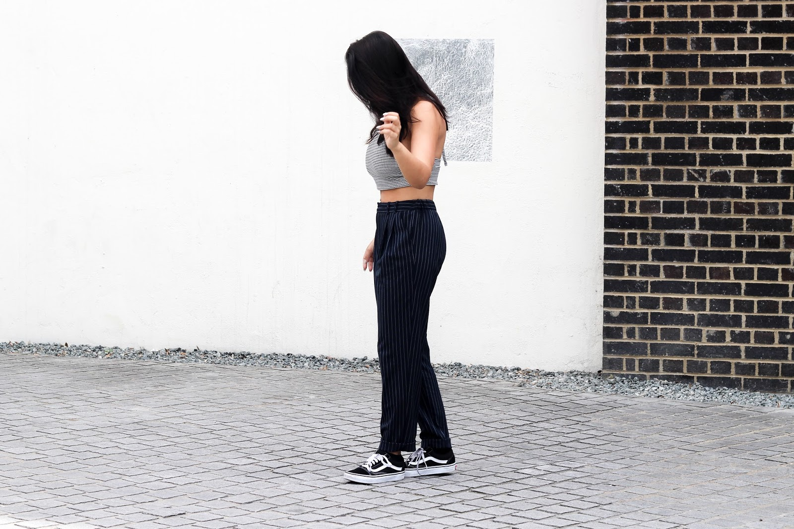 2ef825c1e7255f These Pinstripe Trousers Don t Belong In The Office. fashion. Urban  Outfitters top and trousers