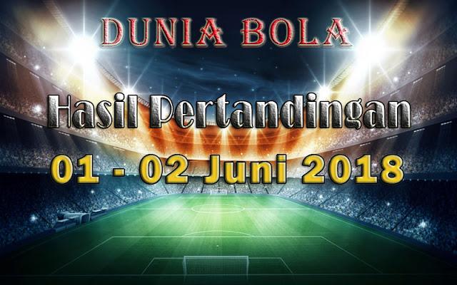 Hasil Pertandingan Sepak Bola Tanggal 01 - 02 Juni 2018
