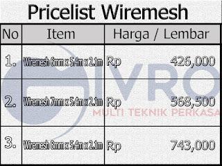 Daftar Harga Besi Wiremesh