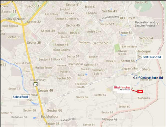 Location map - Mahindra Luminare sector-59 Gurgaon