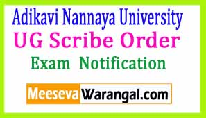 Adikavi Nannaya University UG Scribe Order Mar 2017 Examination Notification