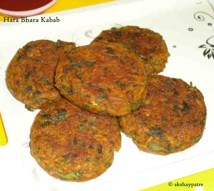 hara bhara kabab in a serving plate