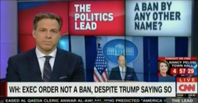 "Watch Jake Tapper Point Out Sean Spicer's Hypocrisy On Media Calling Trump's Muslim Ban ""The Ban"""
