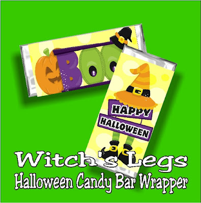 Add a little chocolate wish to your Halloween with this printable Halloween candy bar wrapper.  With cute witch legs and pumpkins, this free candy bar wrapper is a great addition to your Halloween party or to give as a homemade card to all your friends.