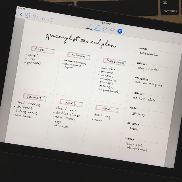 grocery list + meal plan template for digital planners - good notes