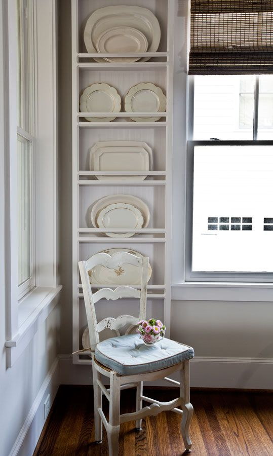 plate rack wall with ironstone platters