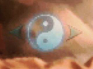 Yin & yang symbol above Ryo's arm