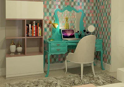 turquoise dressing table ideas for bedroom colorful interior