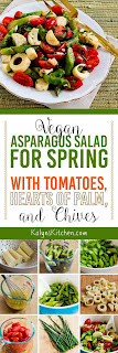 Vegan Asparagus Salad for Spring with Tomatoes, Hearts of Palm, and Chives found on KalynsKitchen.com