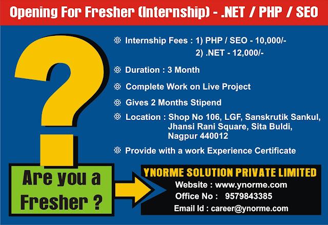 Internship in Nagpur for Freshers - PHP / NET / SEO Website