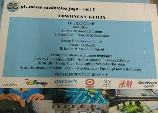 Lowongan Kerja PT Sansan Saudaratex Jaya Terupdate 2019