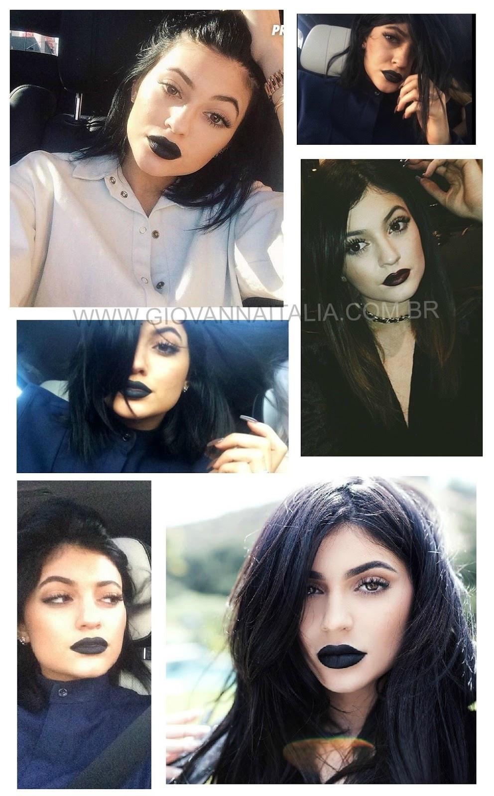 Fotos da Kylie Jenner de batom preto