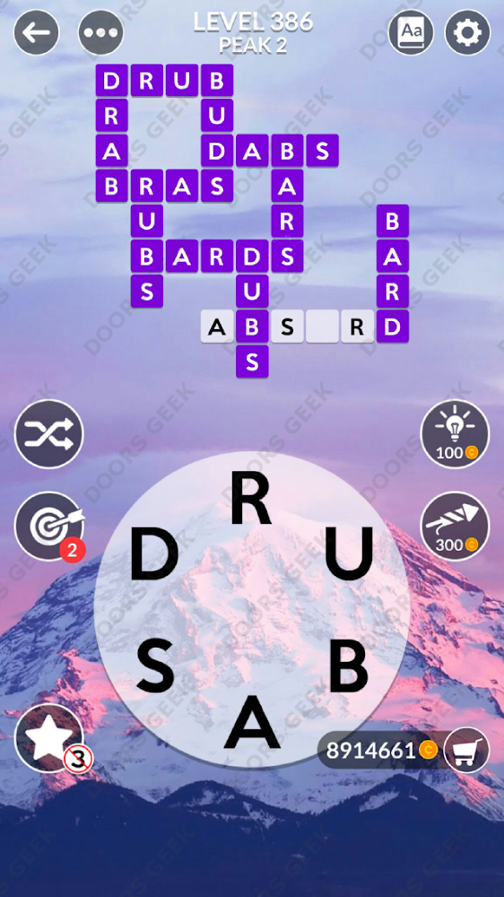 Wordscapes Level 386 answers, cheats, solution for android and ios devices.