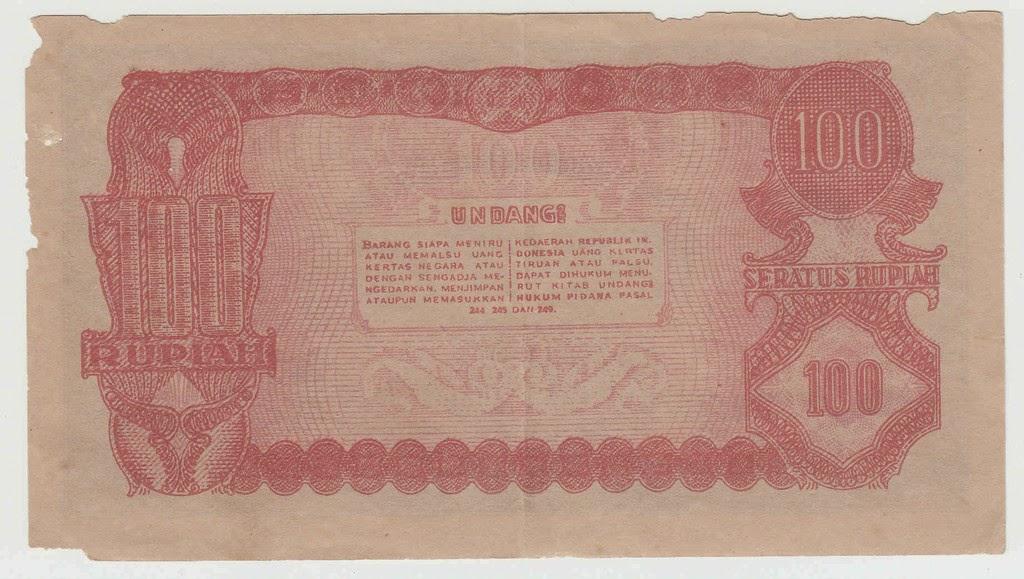 100 Rupiah Tahun 1948 - Belakang
