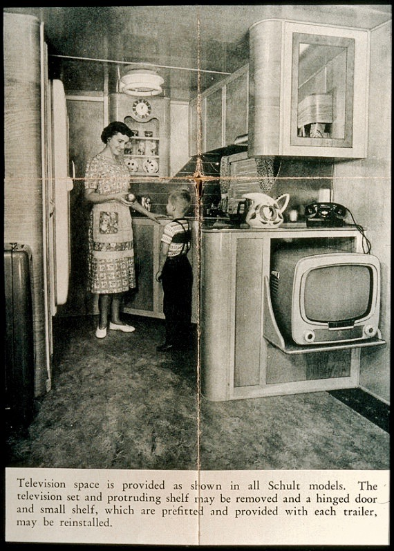 Vintage ad for Schultz Model Mobile Home explaining the ease of watching TV in the trailer park. As Seen on TV and other stories of marketing the American Dream. marchmatron.com