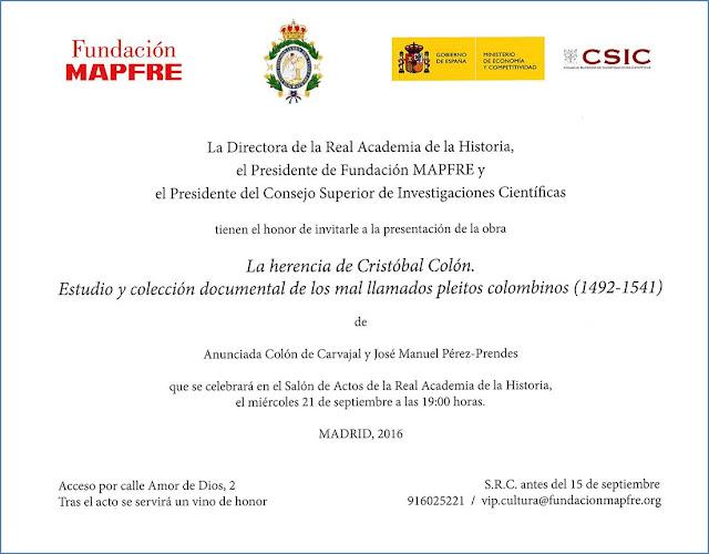 Estudio y colección documental de los mal llamados pleitos colombinos (1492-1541)', dirigida por la Excma. Sra. Duquesa de Vistahermosa en la Real Academia de la Historia