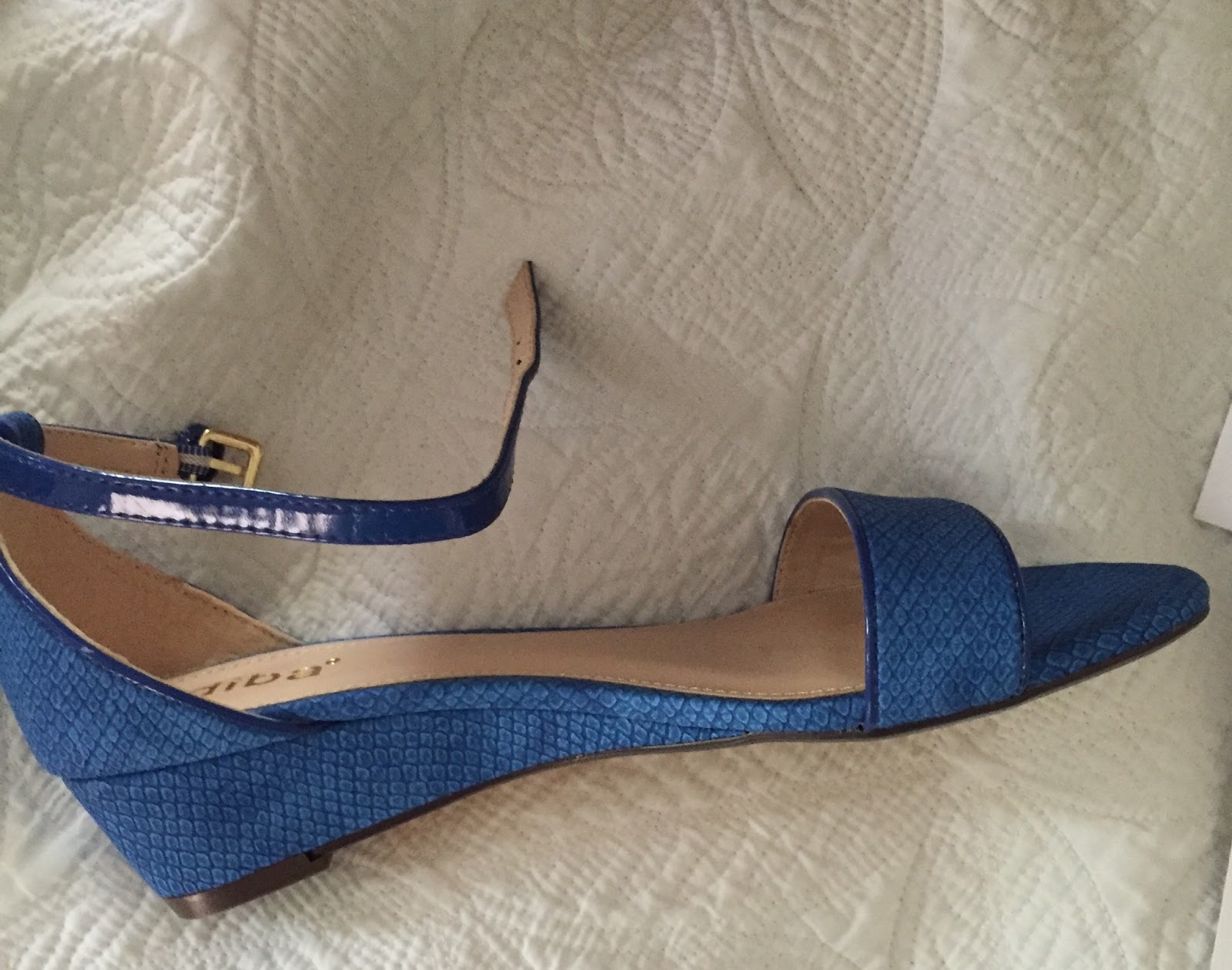 83bb0413f827 The fit was good, the price was okay and I am a sucker for a pair of blue  snakeskin wedges, so they were also a keeper.