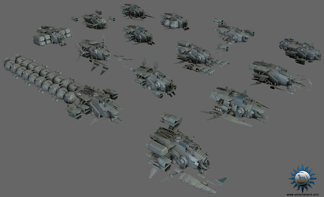 free 3d model scifi spaceship collection modular solcommand fighter interceptor pirate military civilian bomber stealth recon ship mining harvesting cargo gas transport dropship repair salvage scuttle field command control