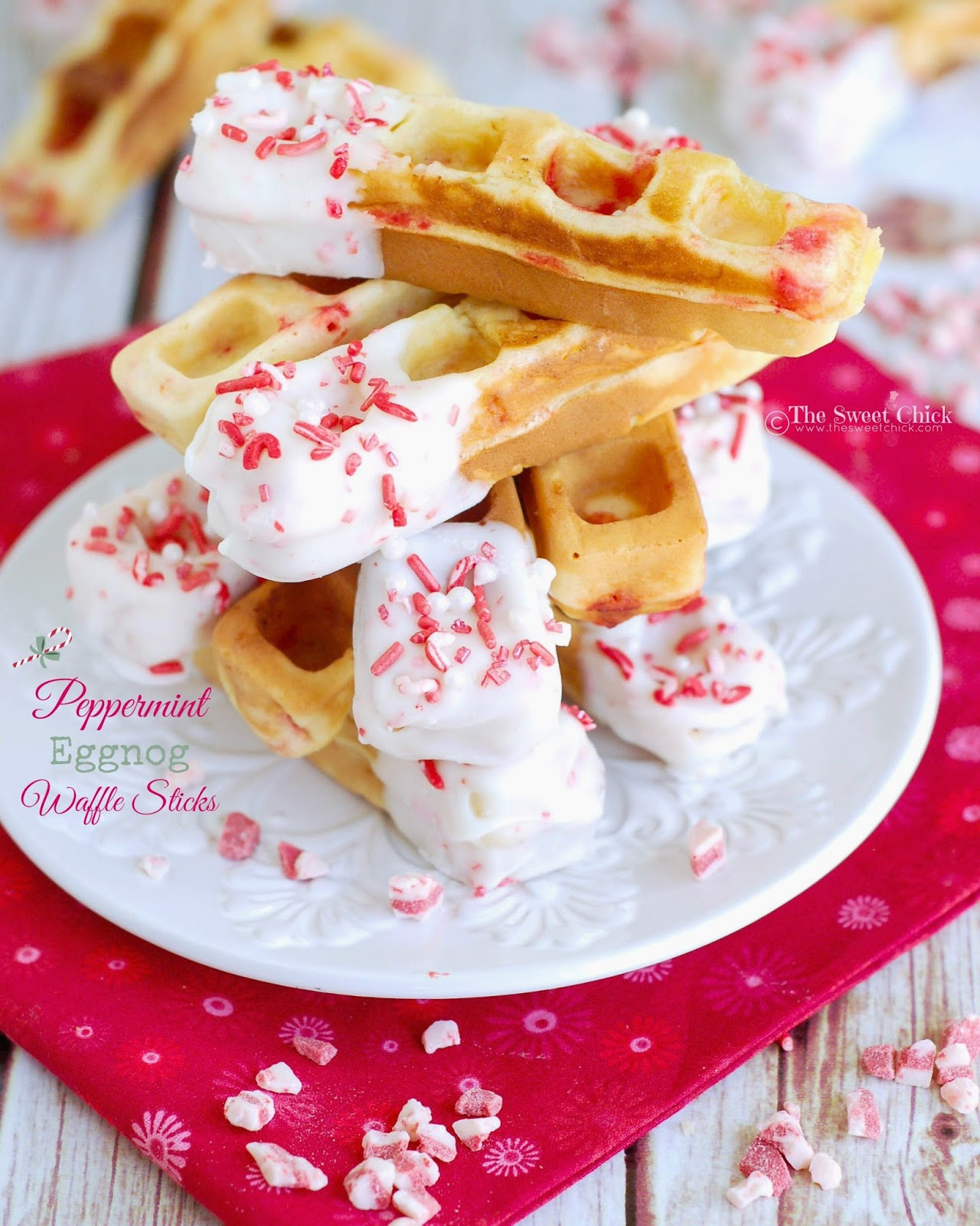 Peppermint Eggnog Waffle Sticks by The Sweet Chick