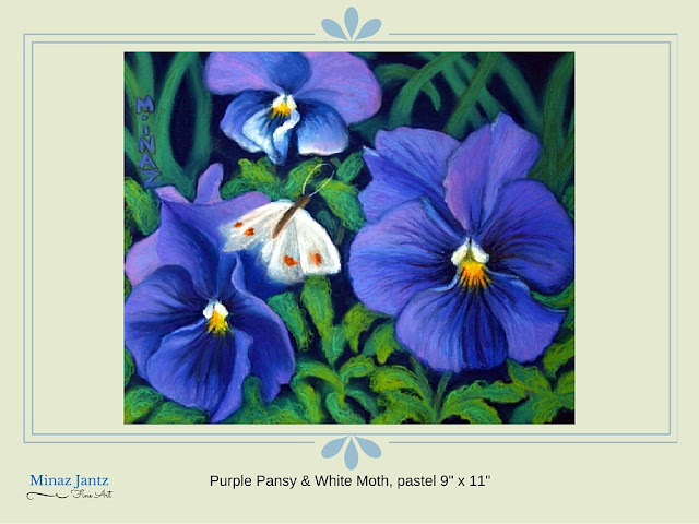 Purple Pansy & White Moth By Minaz Jantz