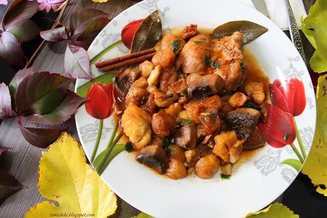 Κοτόπουλο στιφάδο με κάστανα και μανιτάρια