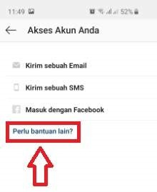 akun instagram gagal login